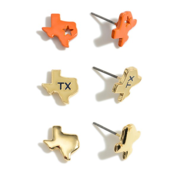 """Set of Three Pairs of Texas Stud Earrings.   - All Texas Studs Approximately 1/2"""" Long"""