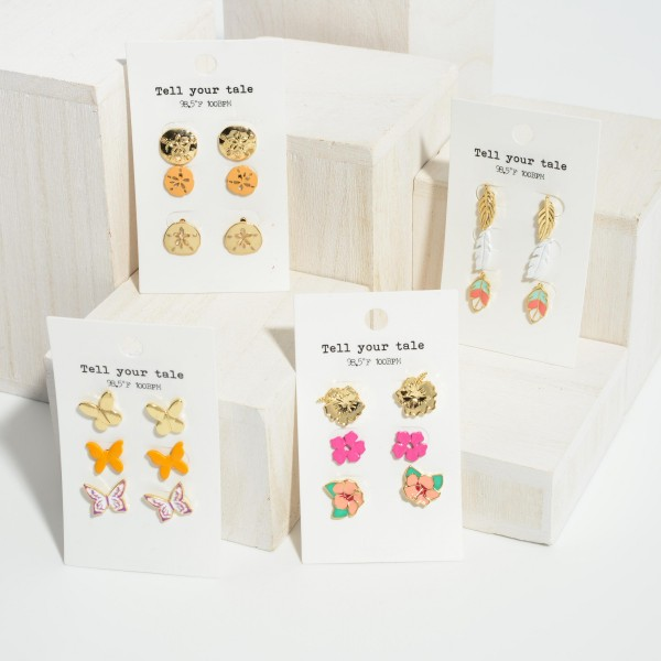 """Set of Three Pairs of Flower Stud Earrings.   - All Flower Studs Approximately 1/2"""" Long"""