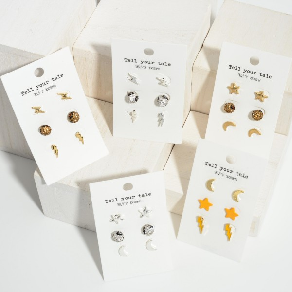 """Set of Three Pairs of Celestial Stud Earrings.   - Crescent Studs Approximately 1/2"""" Long  - Star Studs Approximately 5mm in Diameter - Lightning Bolt Studs Approximately .75"""" Long"""
