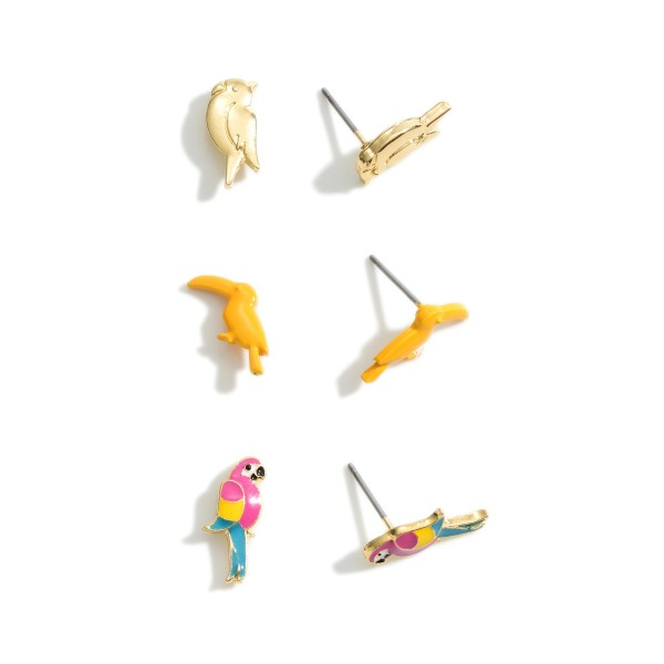 """Set of Three Pairs of Parrot Stud Earrings.   - Approximately 1/2"""" Long"""