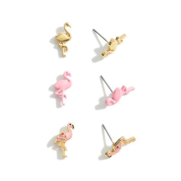Set of Three Pairs of Flamingo Stud Earrings.   - Approximately 5mm in Diameter
