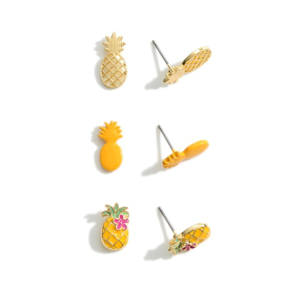 """Set of Three Pairs of Pineapple Stud Earrings.   - Approximately 1/2"""" Long"""