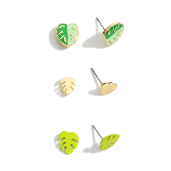 Set of Three Pairs of Tropical Leaf Stud Earrings.   - Approximately 5mm in Diameter