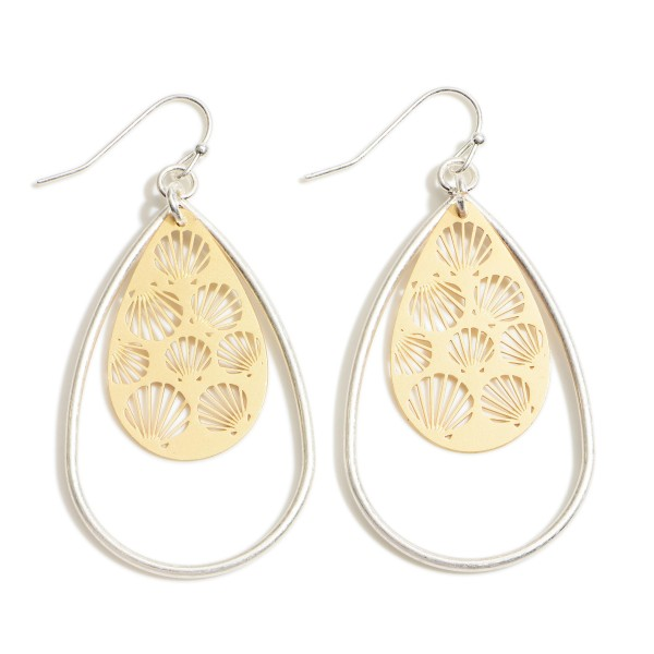 "Metal Teardrop Earrings Featuring Two Tone Seashell Filigree Pattern.   - Approximately 2"" in Length"