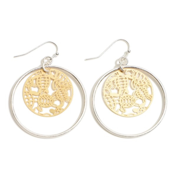 "Two Tone Round Metal Drop Earrings Featuring Sea Turtle Pattern Filigree Accents.   - Approximately 2"" in Length"