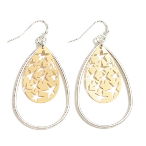 "Metal Teardrop Earrings Featuring Two Tone Filigree Accents.   - Approximately 2"" in Length"