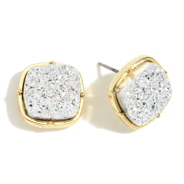 """Square Shaped Druzy Stud Earrings.   - Approximately 1/2"""" in Diameter"""