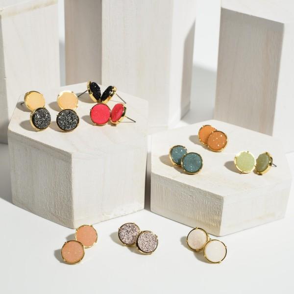Round Druzy Stud Earrings.   - Approximately 7mm in Diameter