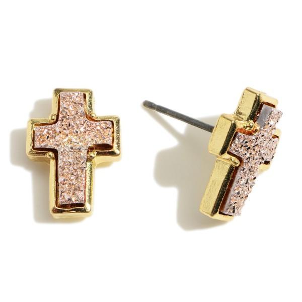 """Druzy Cross Stud Earrings.   - Approximately 1/2"""" in Length"""