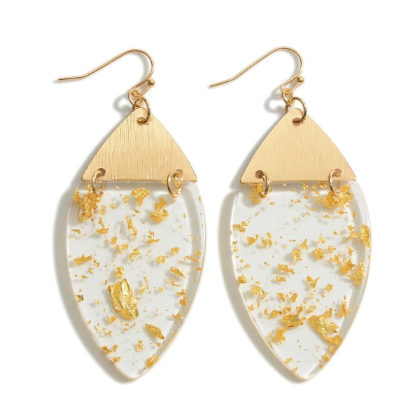 """Clear Resin Drop Earrings Featuring Gold Toned Flaked Accents.   - Approximately 3"""" in Length"""