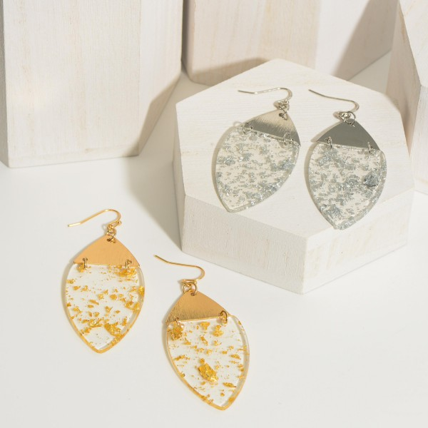 """Clear Resin Drop Earrings Featuring Silver Toned Flaked Accents.   - Approximately 3"""" in Length"""