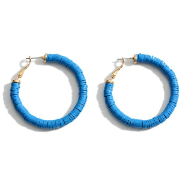 """Heishi Bead Hoop Earrings.   - Approximately 2"""" in Length"""