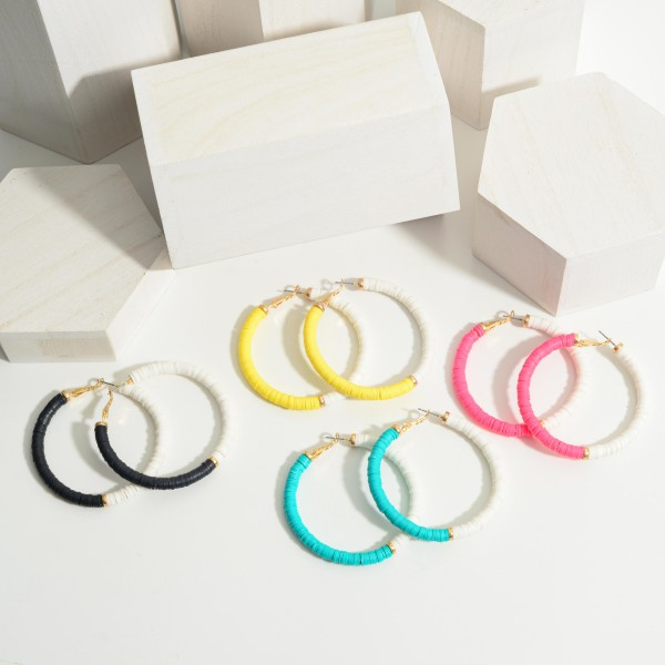 """Two Tone Heishi Bead Hoop Earrings Featuring Gold Details.   - Approximately 2"""" in Diameter"""
