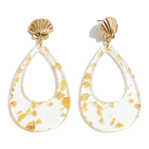 """Clear Resin Teardrop Earrings Featuring Seashell Accents and Gold Flake Details.   - Approximately 3"""" in Length"""