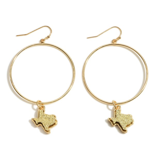 Wholesale gold Round Drop Earrings Texas Druzy Accents L Overall Diameter