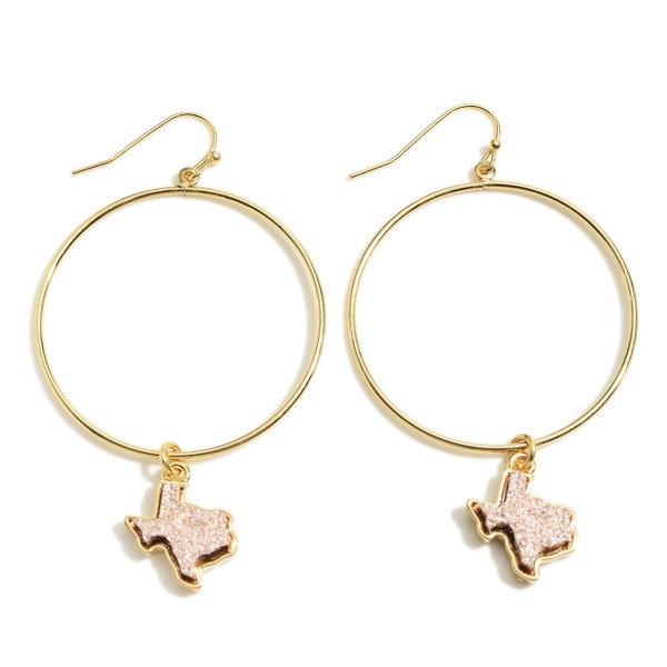 "Gold Round Drop Earrings Featuring Texas Shaped Druzy Accents.   - Approximately 2"" L Overall  - Approximately 1.5"" in Diameter"
