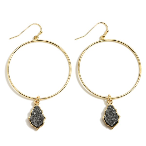 """Gold Round Drop Earrings Featuring Teardrop Shaped Druzy Accents.   - Approximately 2.5"""" L Overall  - Approximately 1.5"""" in Diameter"""