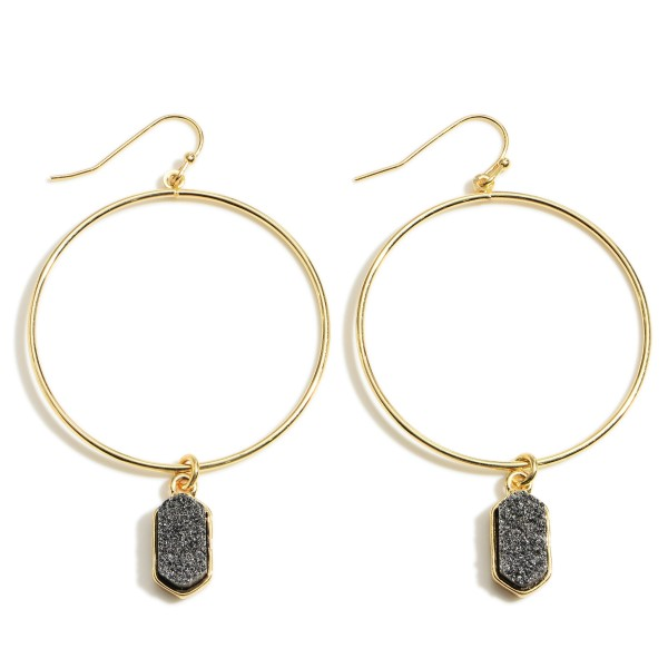 """Gold Round Drop Earrings Featuring Druzy Accents.   - Approximately 2.5"""" in Length Overall  - Approximately 1.5"""" in Diameter"""