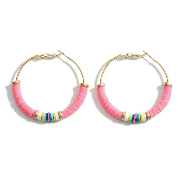 "Heishi Bead Hoop Earrings Featuring Multicolor Details and Gold Accents.   - Approximately 2"" in Diameter"