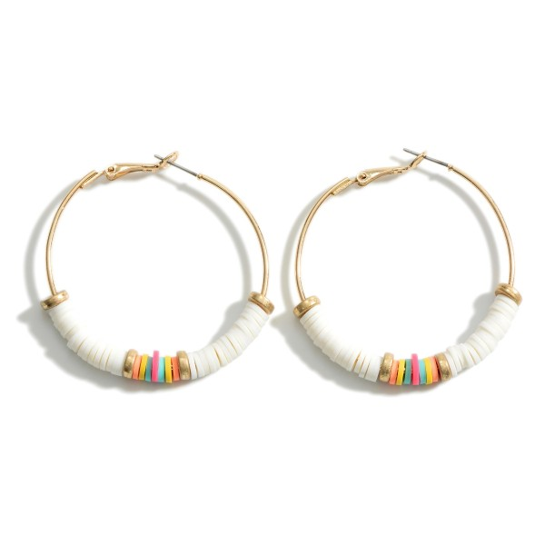 """Heishi Bead Hoop Earrings Featuring Multicolor Details and Gold Accents.   - Approximately 2"""" in Diameter"""