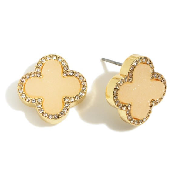 "Clover Shaped Druzy Stud Earrings.   - Approximately 1/2"" in Diameter"