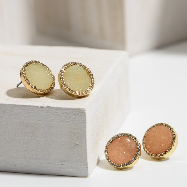 Round Druzy Stud Earrings Featuring Cubic Zirconia Accents.   - Approximately 7mm in Diameter