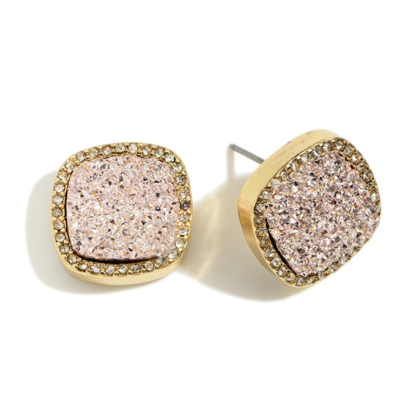 "Square Shaped Druzy Stud Earrings Featuring Cubic Zirconia Accents.   - Approximately 1/2"" in Diameter"