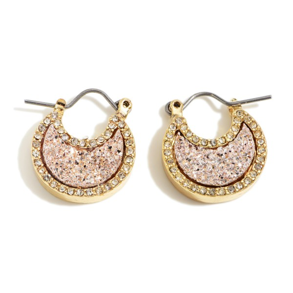 "Short Gold Moon Shaped Druzy Earrings.   - Approximately 1/2"" in Length"
