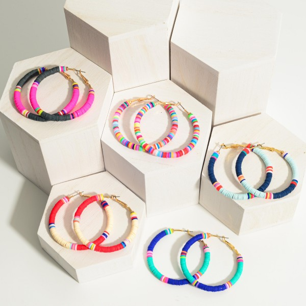 """Heishi Bead Hoop Earrings Featuring Multicolor Accents.   - Approximately 2"""" in Length"""