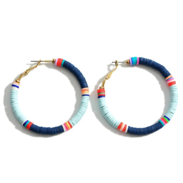 "Heishi Bead Hoop Earrings Featuring Multicolor Accents.   - Approximately 2"" in Length"