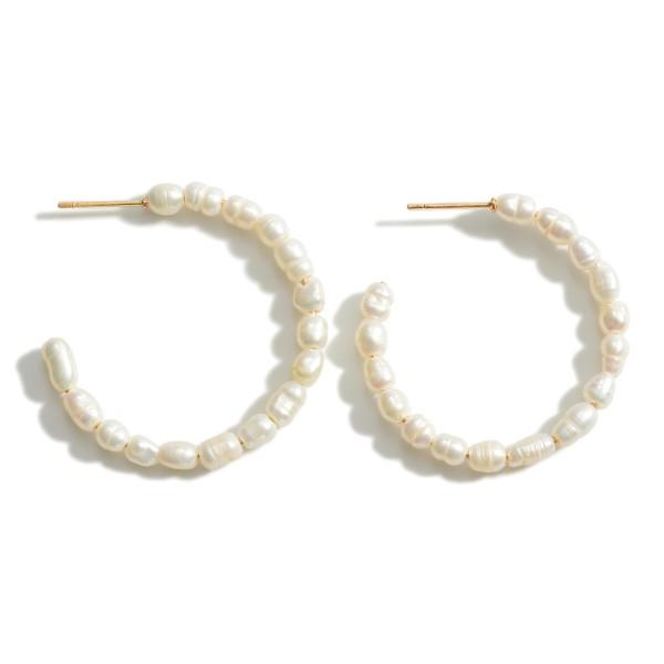 """Faux Pearl Hoop Earrings.   - Approximately 1 1/2"""" in Diameter"""