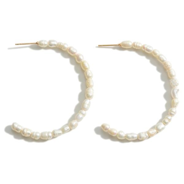 """Faux Pearl Hoop Earrings.   - Approximately 2"""" in Diameter"""