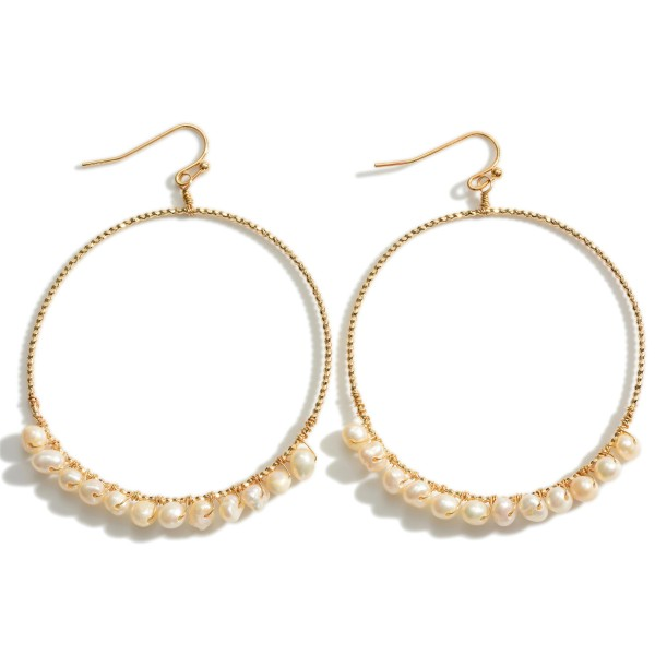 """Textured Round Gold Drop Earrings Featuring Faux Pearl Accents.   - Approximately 2"""" in Diameter"""