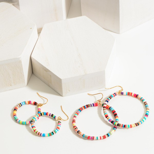 """Round Multicolor Heishi Bead Drop Earrings.   - Approximately 1.5"""" in Length"""