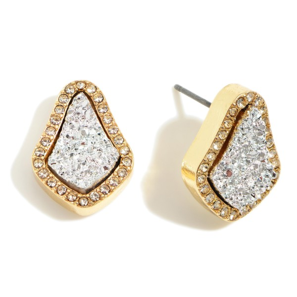 "Teardrop Shaped Druzy Stud Earrings.   - Approximately 1/2"" in Diameter"