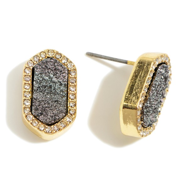 "Hexagon Shaped Druzy Stud Earrings Featuring Cubic Zirconia Accents.   - Approximately 1/2"" in Diameter"