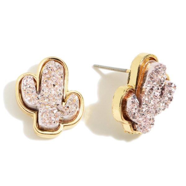 "Cactus Shaped Druzy Stud Earrings.   - Approximately 1/2"" in Diameter"