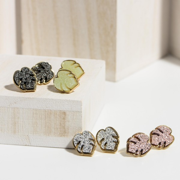 "Leaf Shaped Druzy Stud Earrings.   - Approximately 1/2"" in Diameter"