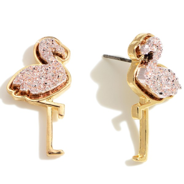 """Flamingo Shaped Druzy Stud Earrings.   - Approximately 1"""" in Length"""