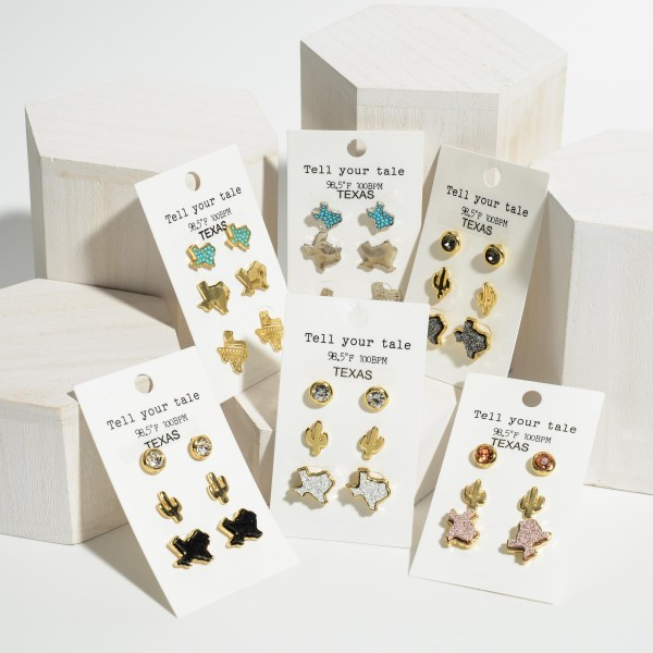 """Set of Three Pairs of Texas Themed Earrings Featuring Rhinestone and Druzy Accents.   - Rhinestone Studs Approximately 4mm Diameter  - Cactus Stud Earrings Approximately 1/2"""" in Length  - Texas Studs Approximately 7mm in Diameter"""
