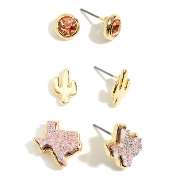 "Set of Three Pairs of Texas Themed Earrings Featuring Rhinestone and Druzy Accents.   - Rhinestone Studs Approximately 4mm Diameter  - Cactus Stud Earrings Approximately 1/2"" in Length  - Texas Studs Approximately 7mm in Diameter"