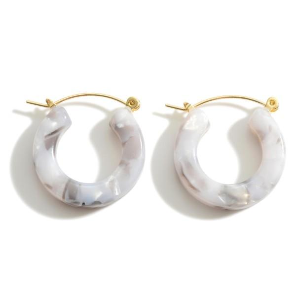 "Small Resin Hoop Earrings.   - Approximately 1"" in Length"