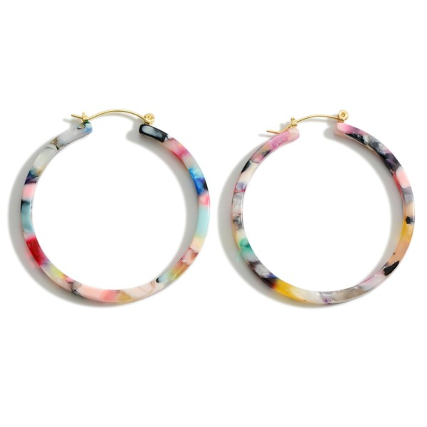 "Lightweight Resin Hoop Earrings.   - Approximately 2"" in Length"