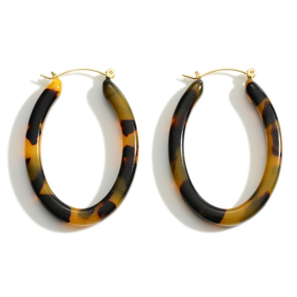 "Oval Shaped Resin Hoop Earrings.   - Approximately 1.5"" in Length"