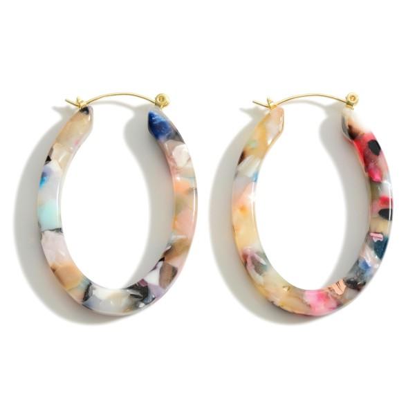 "Oval Shaped Resin Hoop Earrings.   - Approximately 1.5"" in Length"