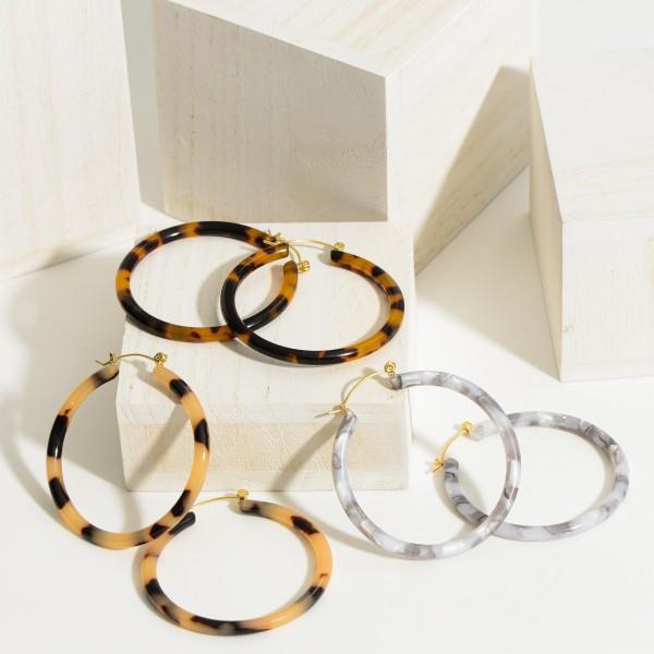"""Resin Hoop Earrings.   - Approximately 2"""" in Diameter"""