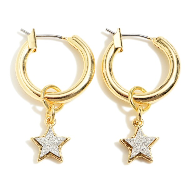 "Small Gold Hoop Earrings Featuring Druzy Star Accents.   - Approximately 1"" in Diameter"
