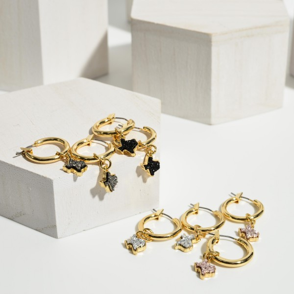 """Small Gold Hoop Earrings Featuring Druzy Texas Shaped Accents.   - Approximately 1"""" in Diameter"""