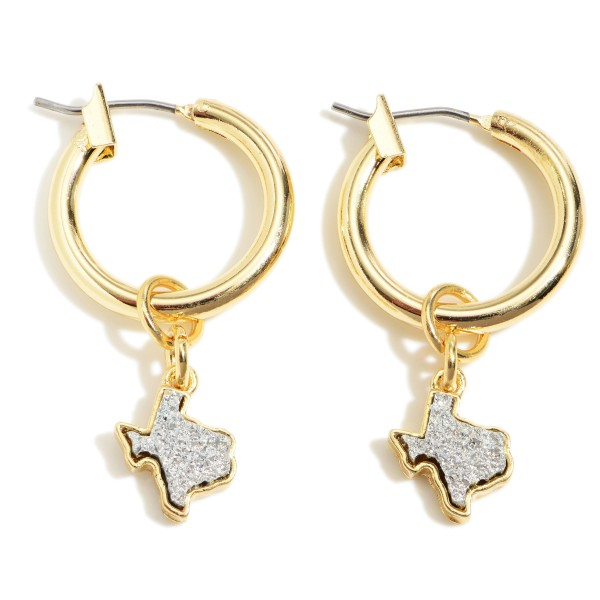 "Small Gold Hoop Earrings Featuring Druzy Texas Shaped Accents.   - Approximately 1"" in Diameter"