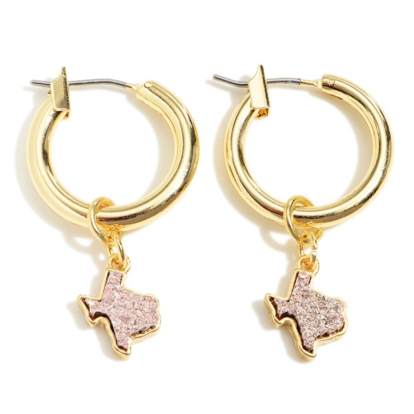 Wholesale small Gold Hoop Earrings Druzy Texas Accents Diameter